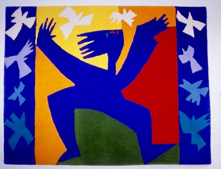 Blue Figure with Birds: Jeni Ross